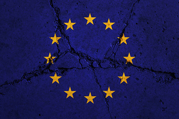 european union flag on cracked wall - detachment stock pictures, royalty-free photos & images
