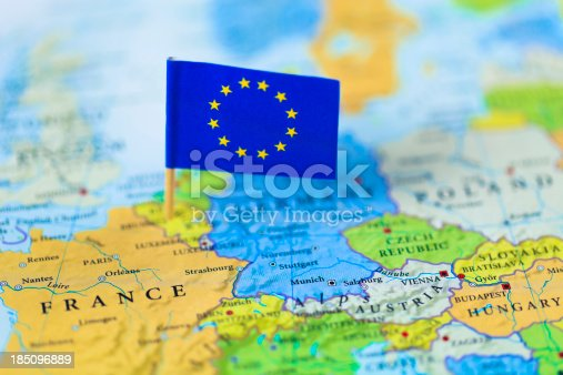 istock European Union flag over Europe map 185096889