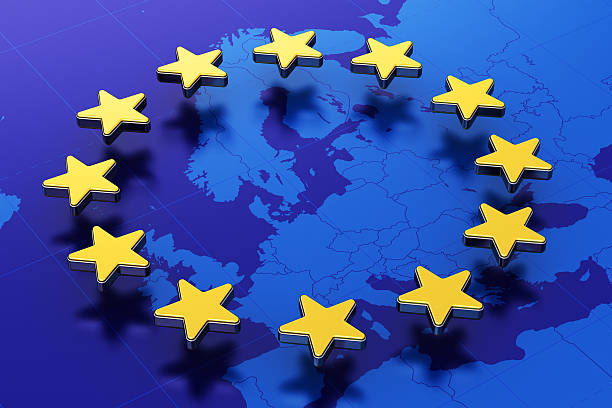 europäischen union flag  - ec karte stock-fotos und bilder