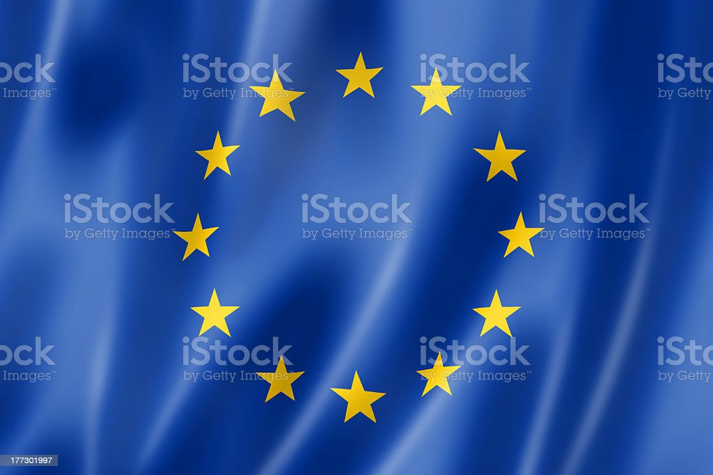European Union flag with blue and yellow stars stock photo