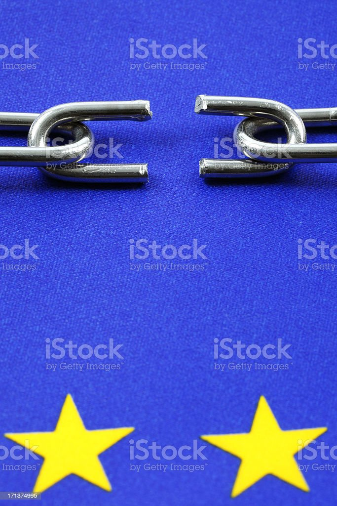 European Union Flag with Broken Chain royalty-free stock photo