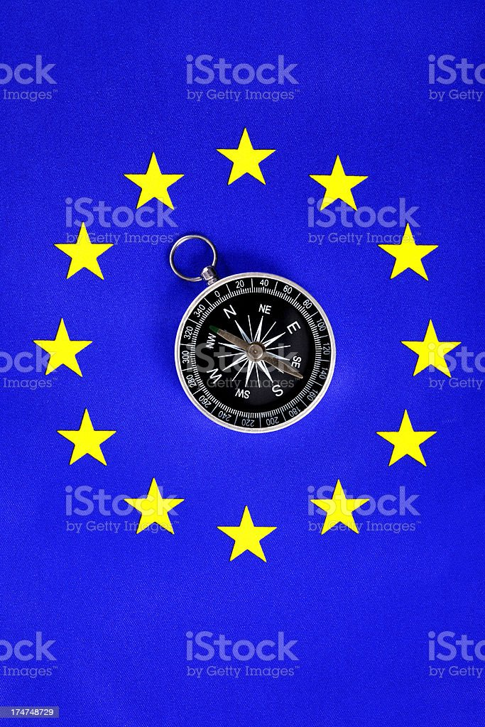 European Union Flag with Compass royalty-free stock photo