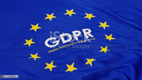 European Union flag with GDPR text in the middle. Horizontal composition with copy space. High angle view.