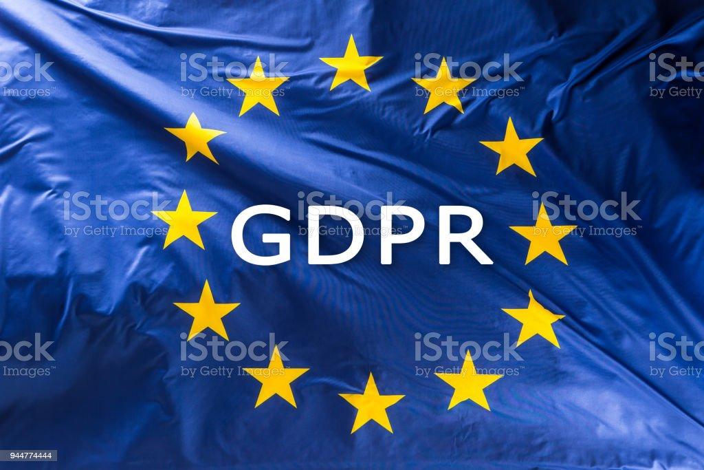 Europäischen Union Flag mit Text DSGVO - Datenschutzgrundverordnung – Foto