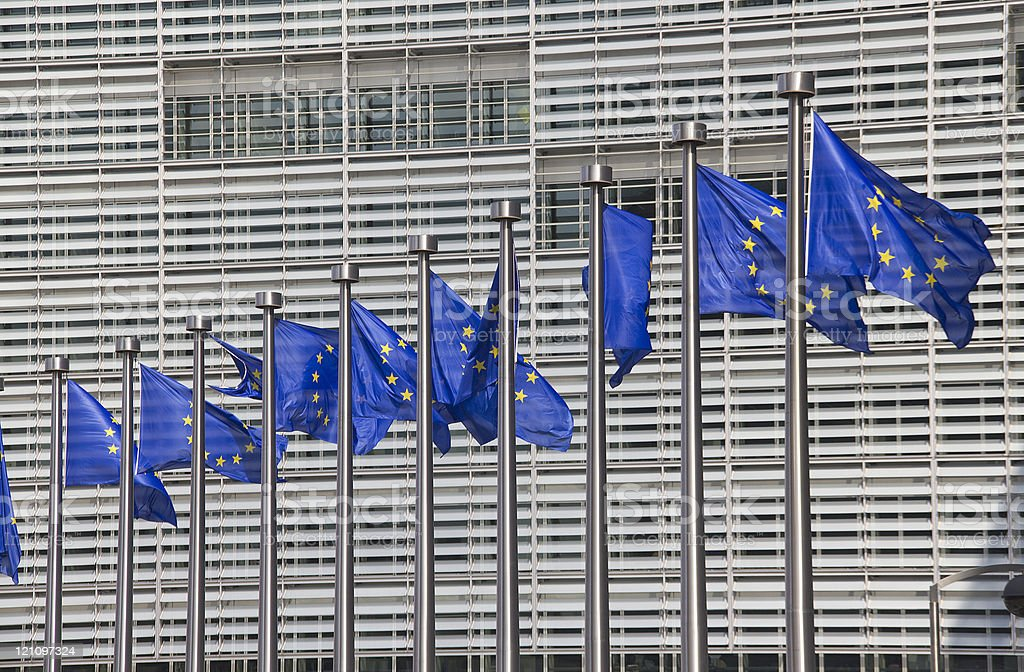 European Union Flags in Brussels royalty-free stock photo