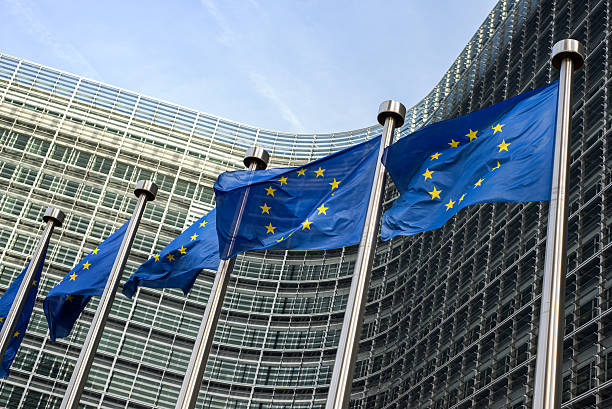 European Union flags in front of the Berlaymont building (Europe European Union flags in front of the Berlaymont building (European commission) in Brussels, Belgium. european culture stock pictures, royalty-free photos & images