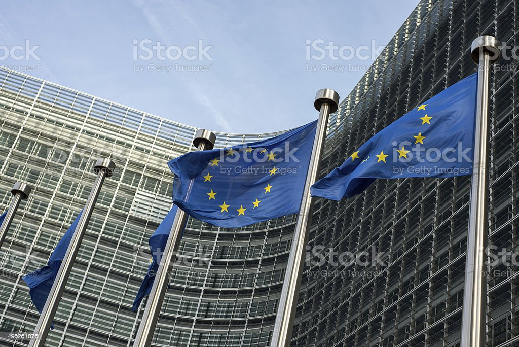European Union flags in front of the Berlaymont building (Europe stock photo