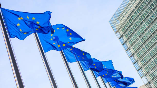 European Union flags in front of the Berlaymont building European Union flags in front of the Berlaymont building in Brussels, Belgium. european commission stock pictures, royalty-free photos & images
