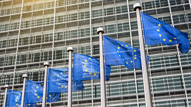 European Union flags in front of the Berlaymont European Union flags in front of the Berlaymont building (European commission) in Brussels, Belgium. berlaymont stock pictures, royalty-free photos & images