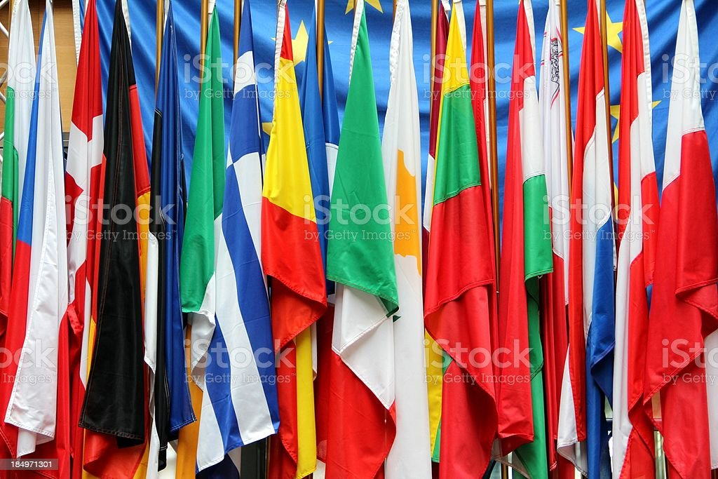 European Union Flags royalty-free stock photo