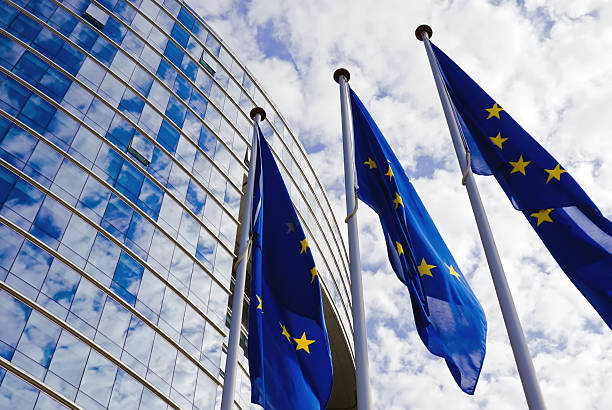 European Union Flags EU Flags at the European Commission Building european union currency stock pictures, royalty-free photos & images