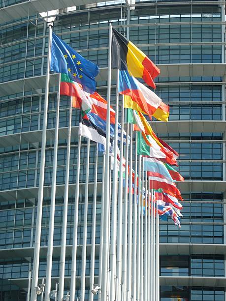Banderas de la Unión Europea  - foto de stock