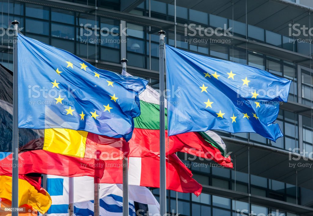 European Union Flags stock photo