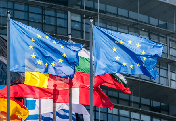 European Union Flags European Union Flags in Strasbourg berlaymont stock pictures, royalty-free photos & images
