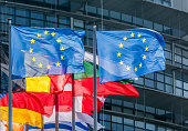 European Union Flags in Strasbourg