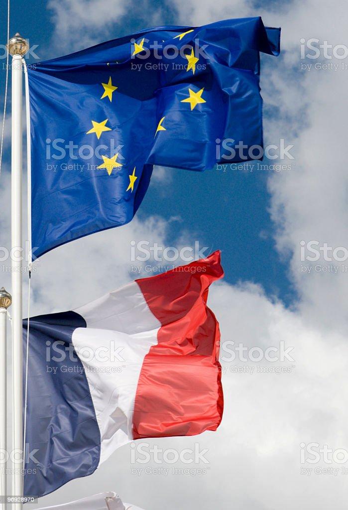 European Union & French Flags royalty-free stock photo