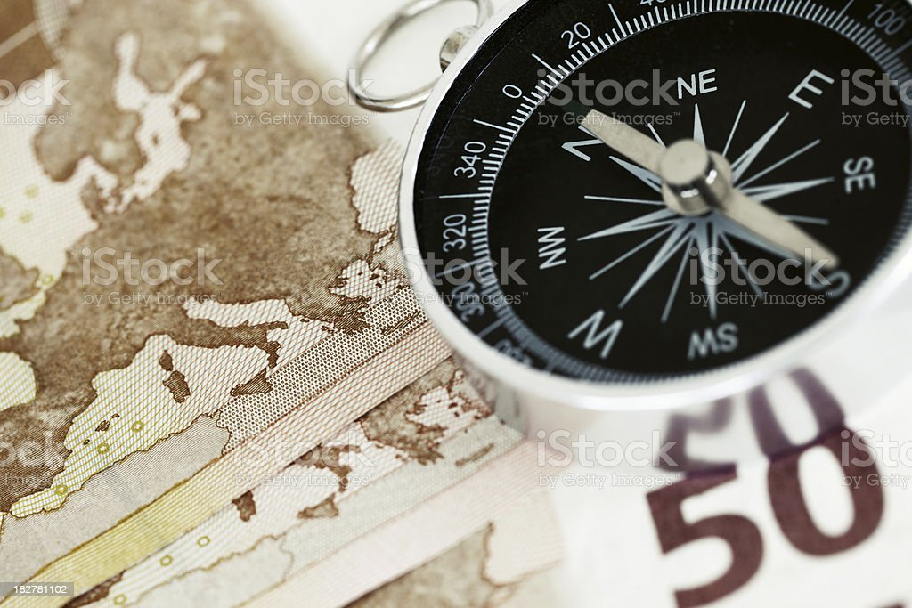 European Union Map and Compass royalty-free stock photo
