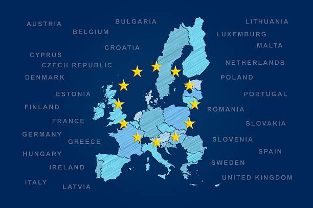 Mapa de la Unión Europea - foto de stock
