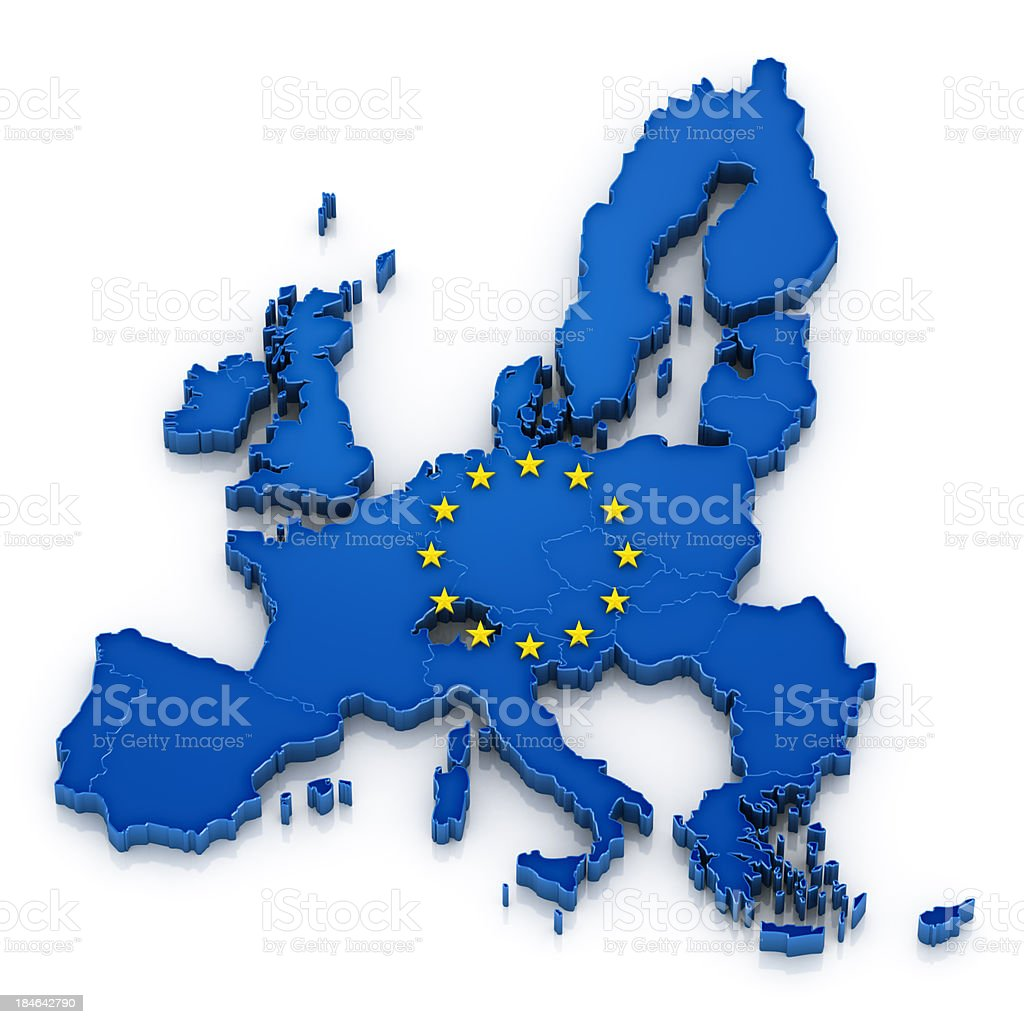 European Union map with flag royalty-free stock photo