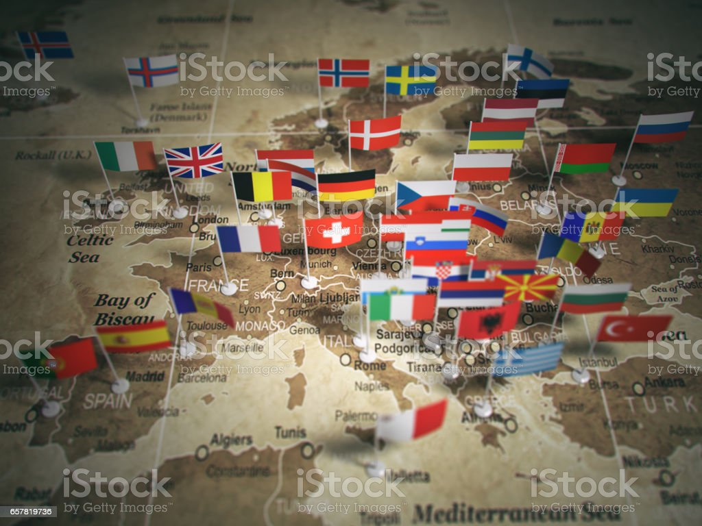 European Union map with flags of countries. Europe. stock photo
