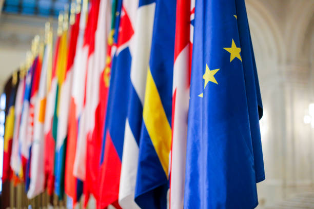 european union member states flags one next to another - политика и правительство стоковые фото и изображения