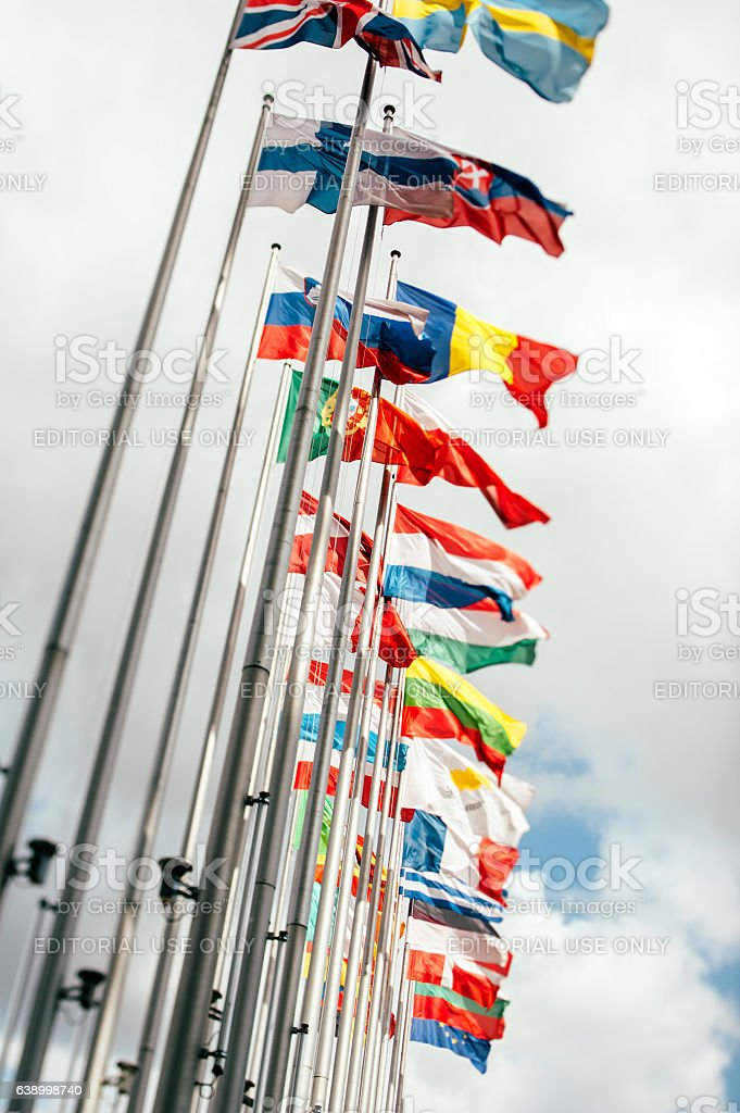 European Union Parliament all countries flags stock photo