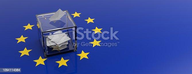 istock European Union parliament election. Voting box on EU flag background. 3d illustration 1094114384