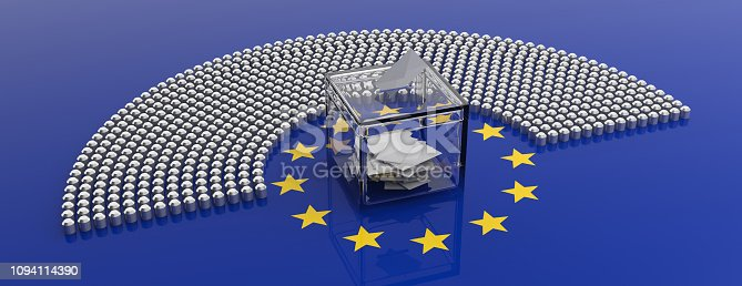 1125774238 istock photo European Union parliament seats and a voting box on EU flag background. 3d illustration 1094114390