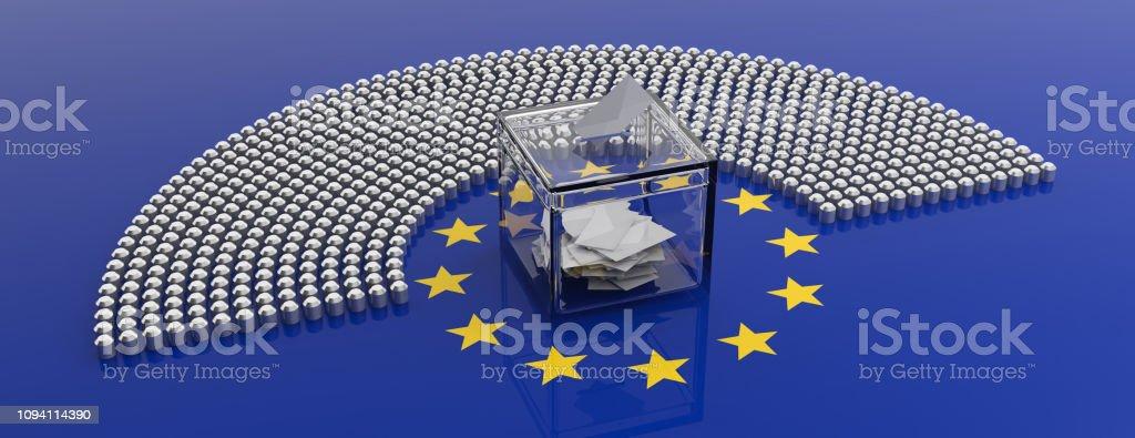 Sitze im Europäischen Parlament und einer Abstimmung Box auf EU Flagge Hintergrund. 3D illustration – Foto