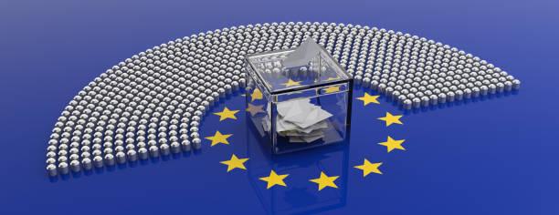 European Union parliament seats and a voting box on EU flag background. 3d illustration stock photo