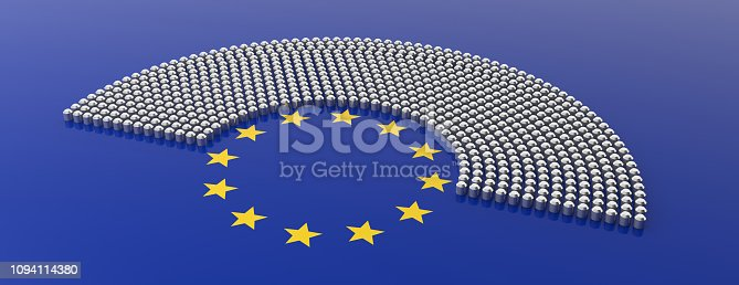 istock European Union parliament seats and yellow stars circle on blue background. 3d illustration 1094114380