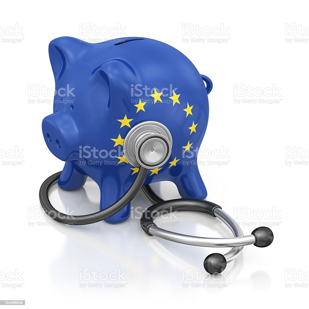 european union piggy bank and stethoscope royalty-free stock photo