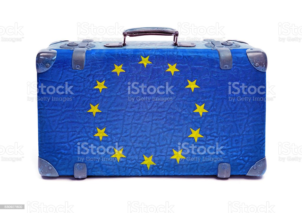 European Union Suitcase - Concept Of Refugees Welcome stock photo
