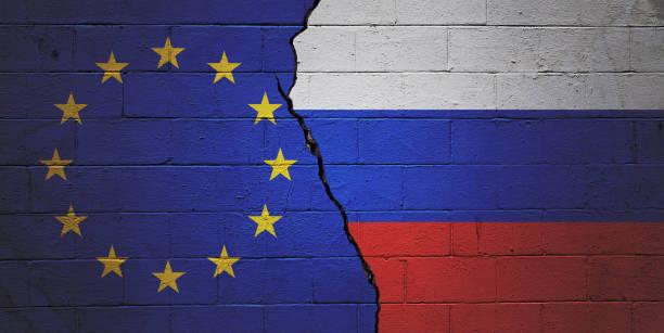 European Union versus Russia stock photo
