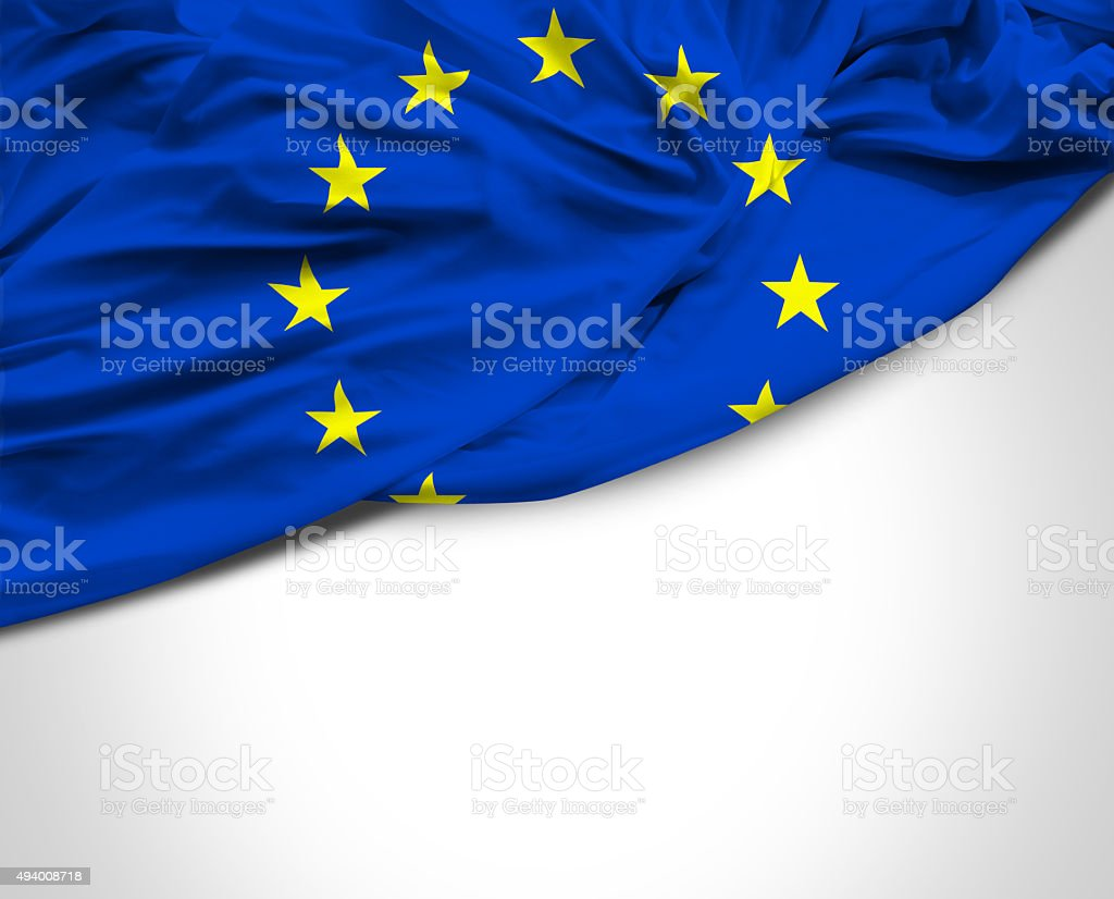 European Union waving flag on white background stock photo