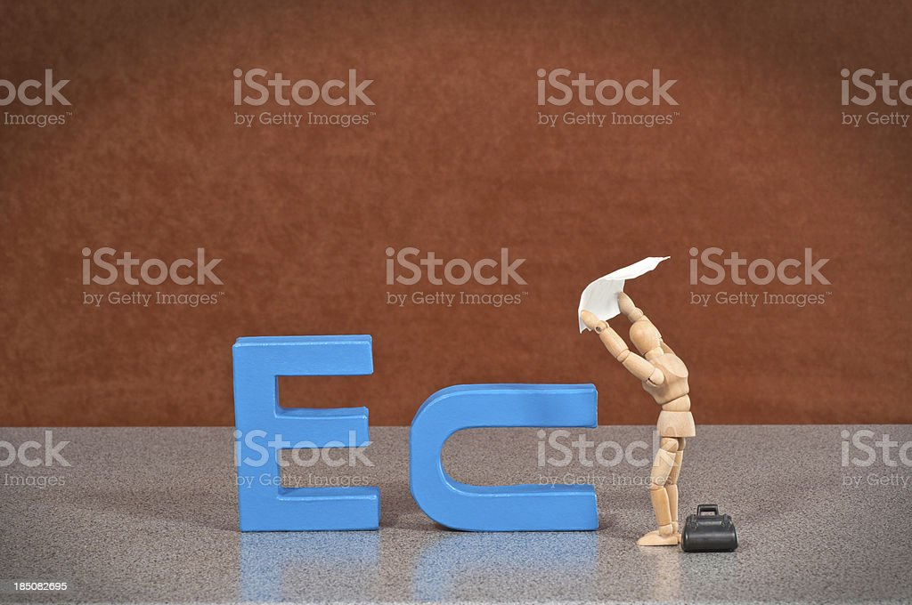 European Union - Wooden Mannequin demonstrating this word stock photo