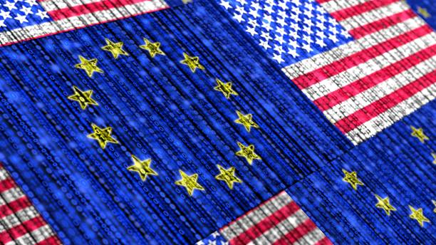 European US flag composed of binary data streams cybersecurity concept stock photo