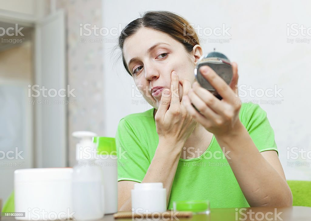 european  woman stares on her face royalty-free stock photo