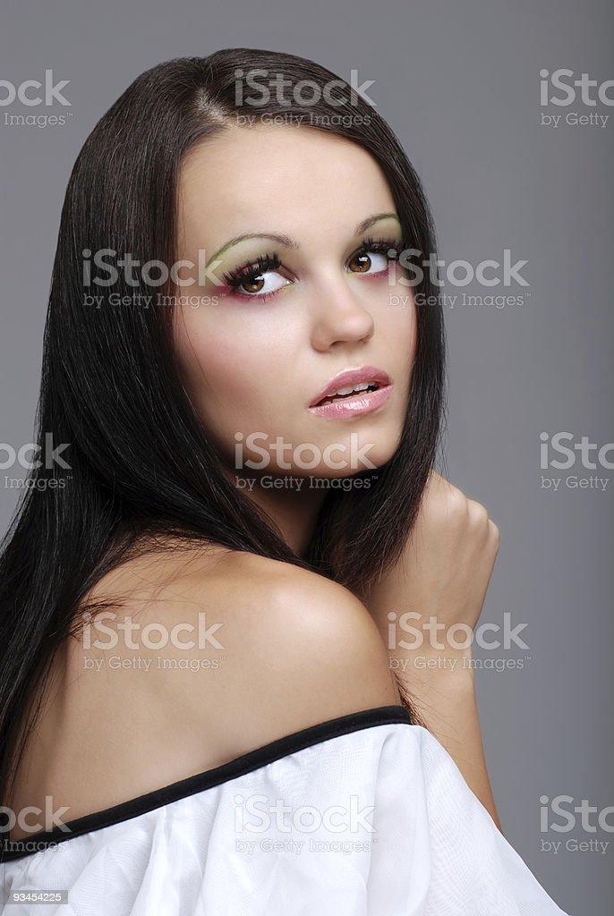 Europäische Frau mit rosa und grüne eye shadow Lizenzfreies stock-foto