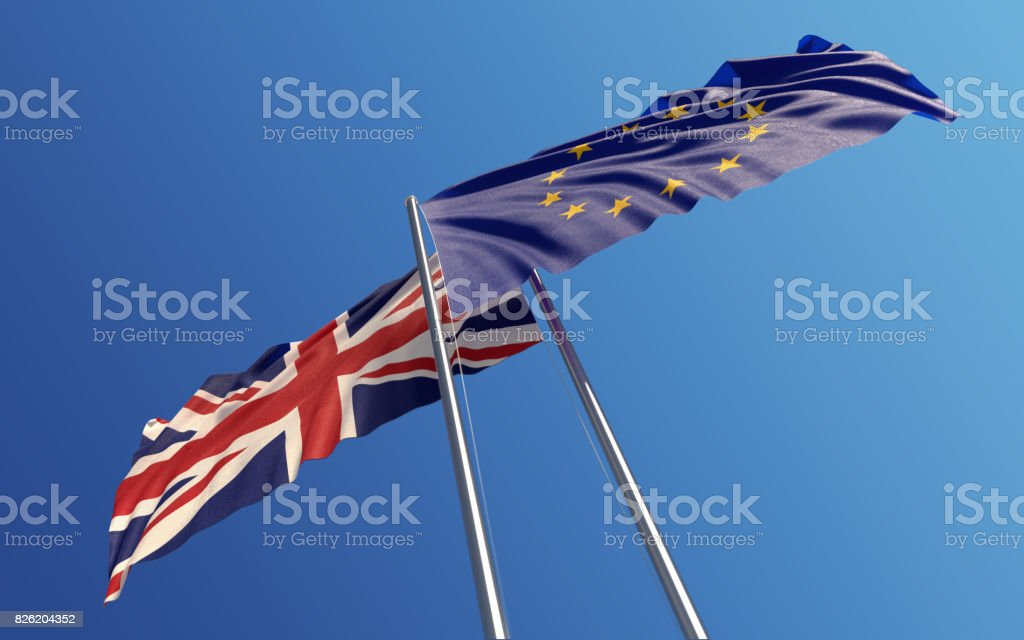 Europen Union and United Kingdom Flags Waving With Wind: Dispute Concept - foto stock