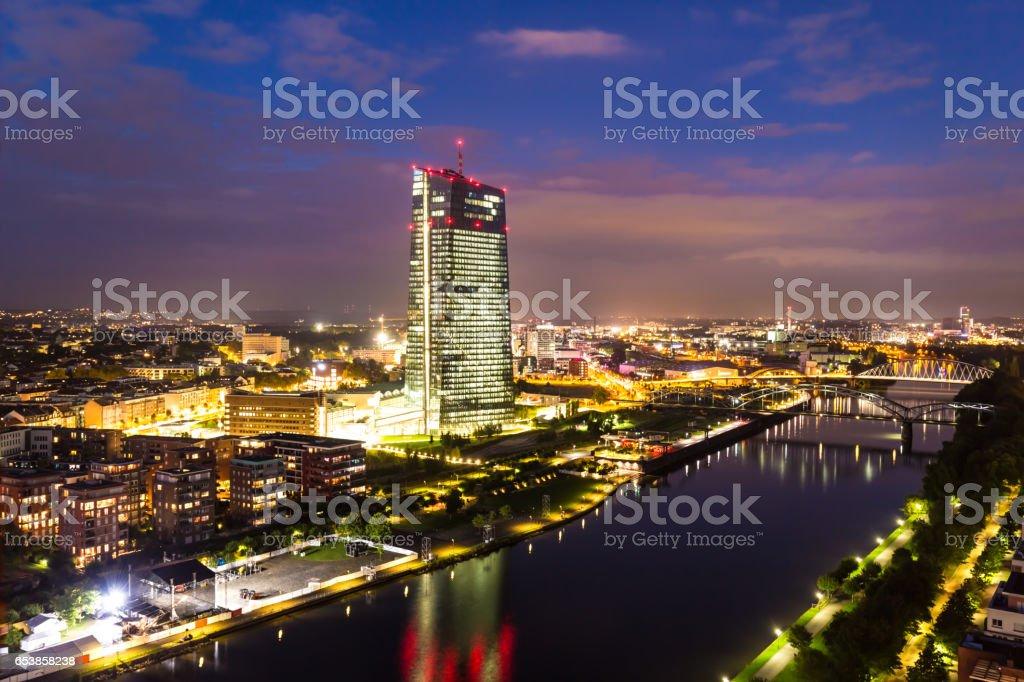 Europäische Zentralbank at sunset stock photo
