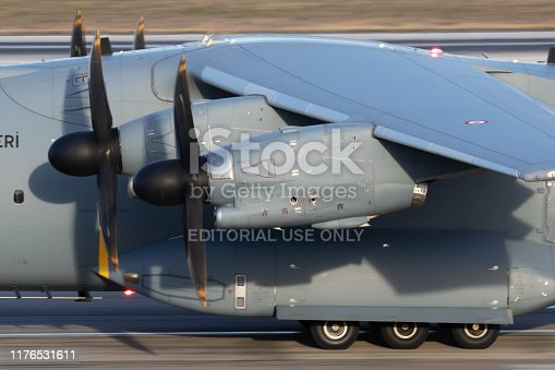 Istanbul / Turkey - March 28, 2019: Turkish Air Force Airbus Military A400M Atlas 17-0078 military transport plane departure at Istanbul Ataturk Airport