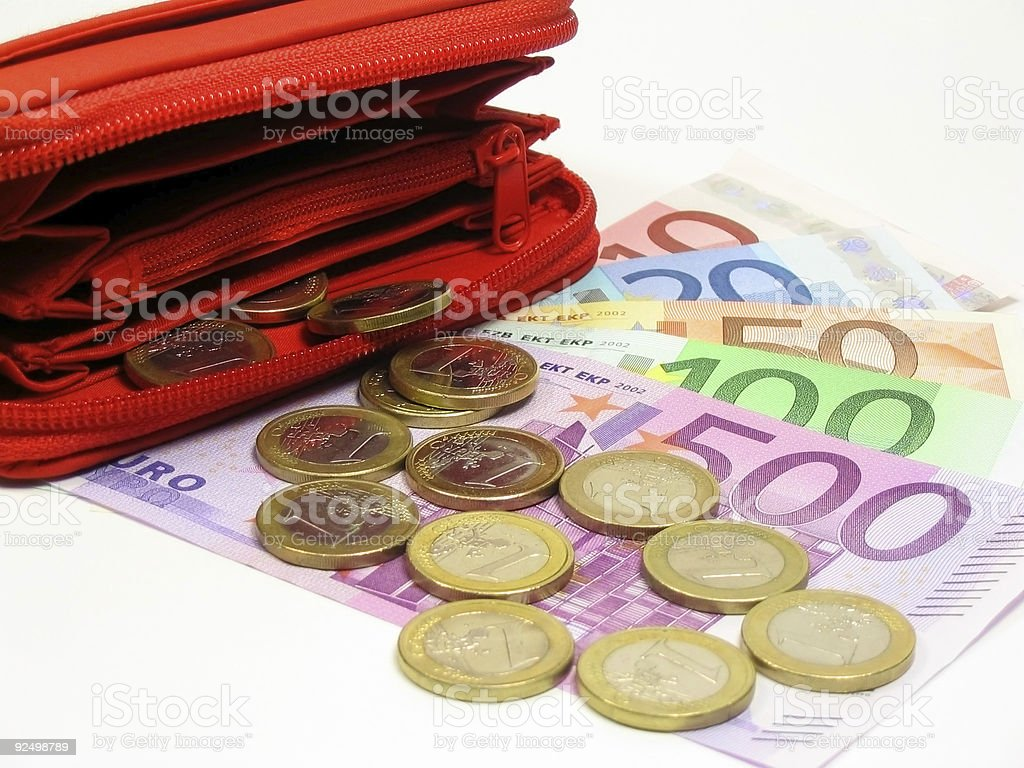 Euros and wallet royalty-free stock photo
