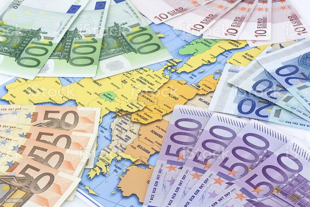Euros at map royalty-free stock photo