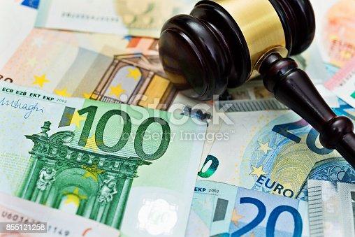 istock Euros bills and gavel 855121258