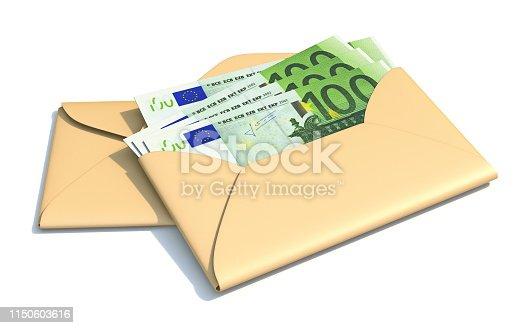 istock Euros in envelope 3D 1150603616