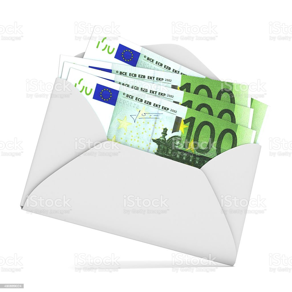 Euros in envelope. 3D render stock photo