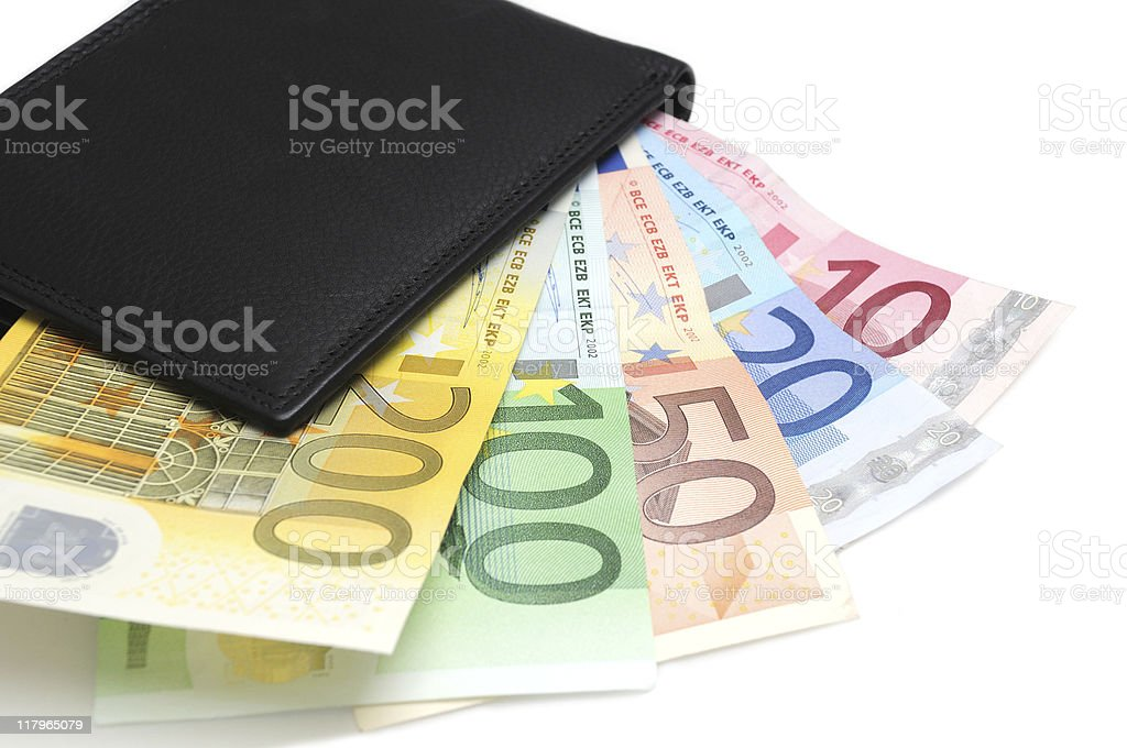 Euros in wallet royalty-free stock photo