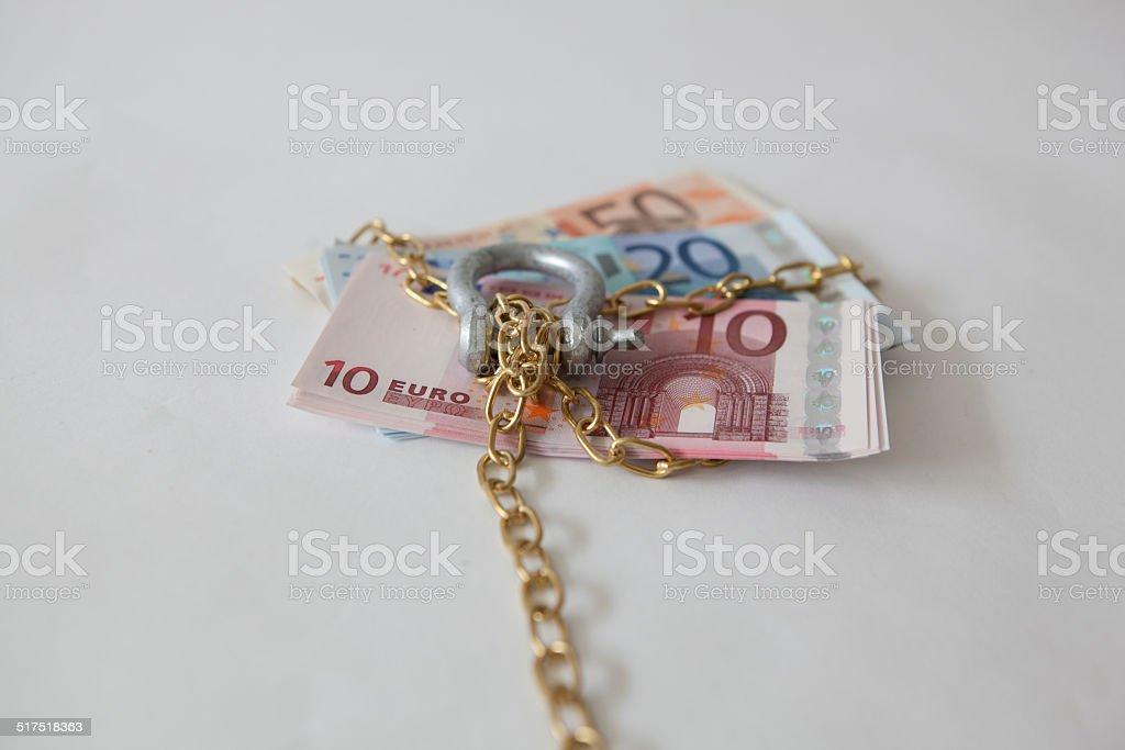 euros large lock bolt tied up stock photo
