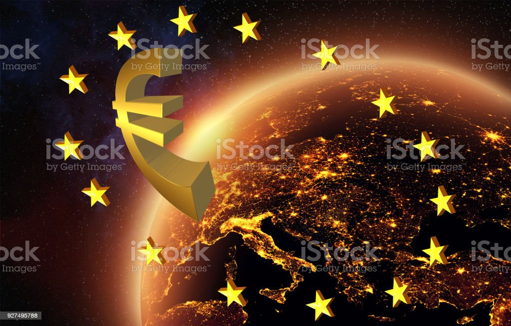 Euros symbol in outer space over night Europe
